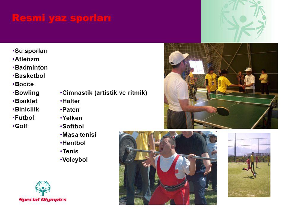 • Su sporları • Atletizm • Badminton • Basketbol • Bocce • Bowling • Bisiklet • Binicilik • Futbol • Golf •Cimnastik (artistik ve ritmik) •Halter •Pat