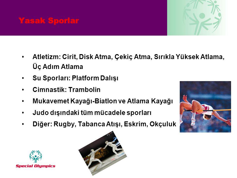 Yasak Sporlar •Atletizm: Cirit, Disk Atma, Çekiç Atma, Sırıkla Yüksek Atlama, Üç Adım Atlama •Su Sporları: Platform Dalışı •Cimnastik: Trambolin •Muka