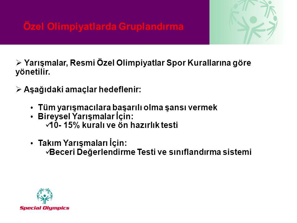 Özel Olimpiyatlarda Gruplandırma  Yarışmalar, Resmi Özel Olimpiyatlar Spor Kurallarına göre yönetilir.  Aşağıdaki amaçlar hedeflenir: • Tüm yarışmac