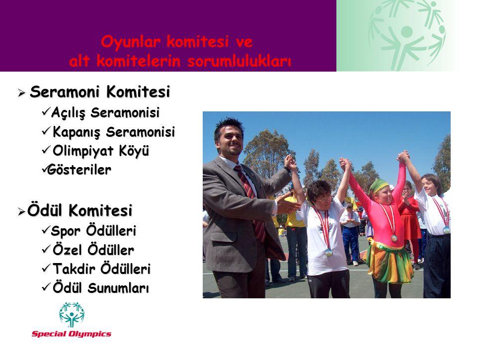 Oyunlar komitesi ve alt komitelerin sorumlulukları  Seramoni Komitesi  Açılış Seramonisi  Kapanış Seramonisi  Olimpiyat Köyü  Gösteriler  Ödül K