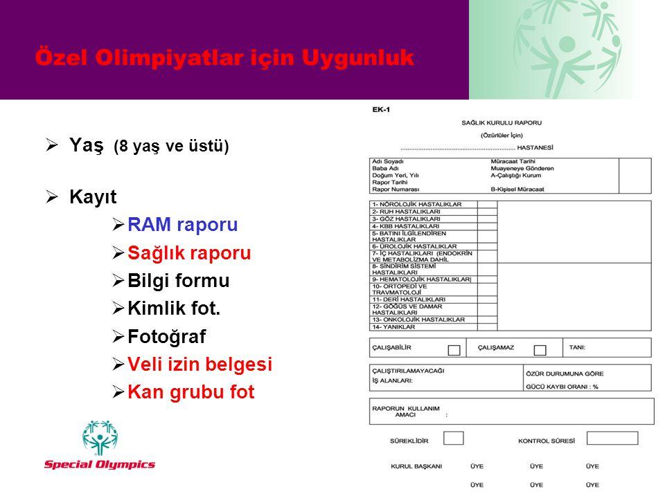 Özel Olimpiyatlar için Uygunluk  Yaş (8 yaş ve üstü)  Kayıt  RAM raporu  Sağlık raporu  Bilgi formu  Kimlik fot.  Fotoğraf  Veli izin belgesi