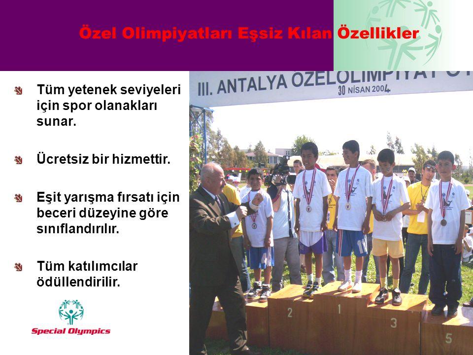 Özel Olimpiyatları Eşsiz Kılan Özellikler Tüm yetenek seviyeleri için spor olanakları sunar. Ücretsiz bir hizmettir. Eşit yarışma fırsatı için beceri