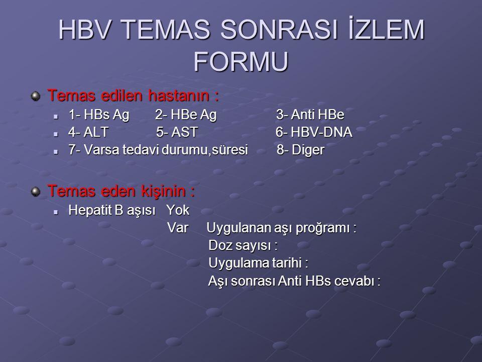 HBV TEMAS SONRASI İZLEM FORMU Temas edilen hastanın :  1- HBs Ag 2- HBe Ag 3- Anti HBe  4- ALT 5- AST 6- HBV-DNA  7- Varsa tedavi durumu,süresi 8-