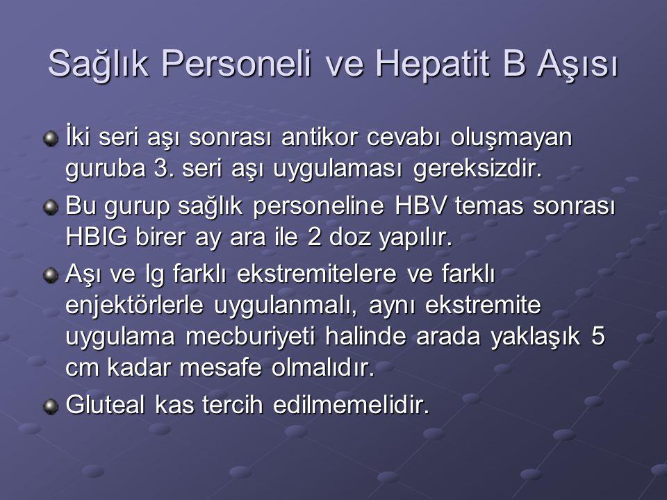 Sağlık Personeli ve Hepatit B Aşısı İki seri aşı sonrası antikor cevabı oluşmayan guruba 3. seri aşı uygulaması gereksizdir. Bu gurup sağlık personeli