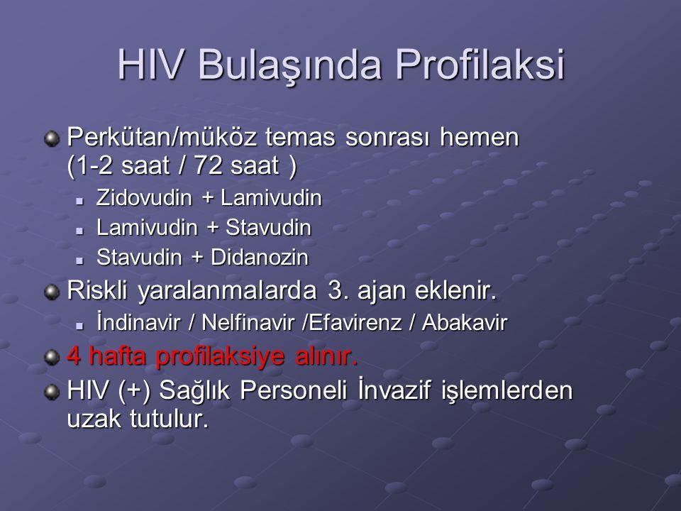 HIV Bulaşında Profilaksi Perkütan/müköz temas sonrası hemen (1-2 saat / 72 saat )  Zidovudin + Lamivudin  Lamivudin + Stavudin  Stavudin + Didanozi