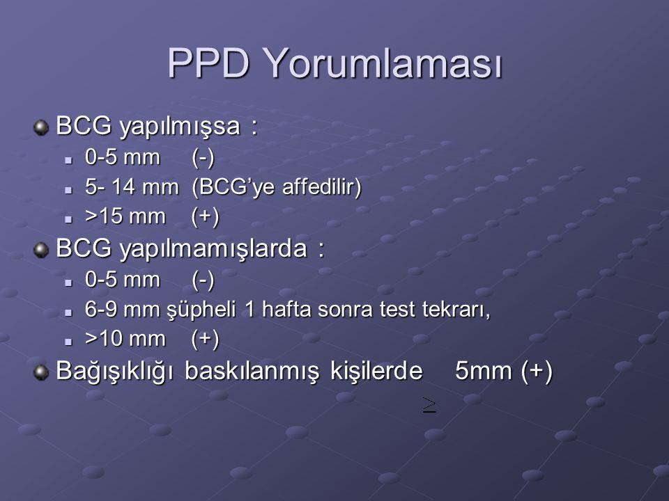 PPD Yorumlaması BCG yapılmışsa :  0-5 mm (-)  5- 14 mm (BCG'ye affedilir)  >15 mm (+) BCG yapılmamışlarda :  0-5 mm (-)  6-9 mm şüpheli 1 hafta s