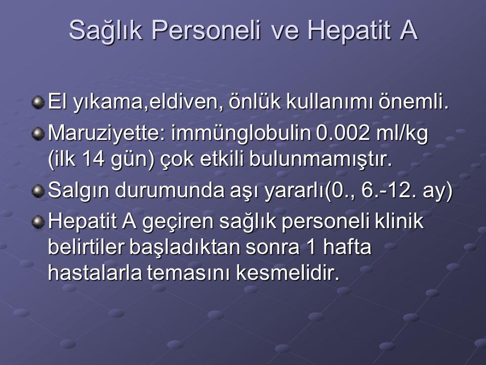 Sağlık Personeli ve Hepatit A El yıkama,eldiven, önlük kullanımı önemli. Maruziyette: immünglobulin 0.002 ml/kg (ilk 14 gün) çok etkili bulunmamıştır.
