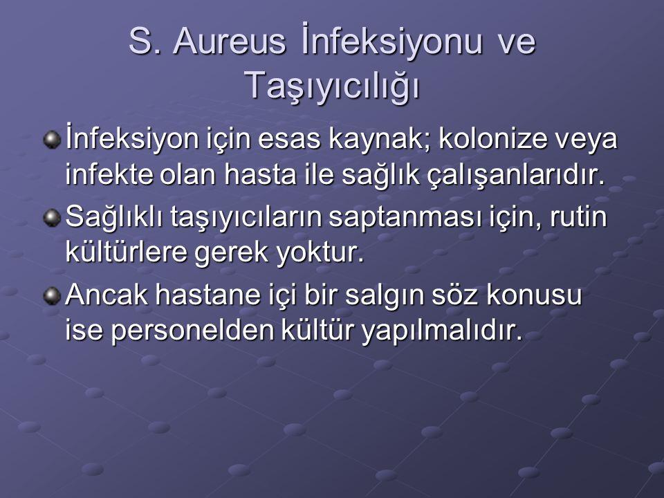 S. Aureus İnfeksiyonu ve Taşıyıcılığı İnfeksiyon için esas kaynak; kolonize veya infekte olan hasta ile sağlık çalışanlarıdır. Sağlıklı taşıyıcıların