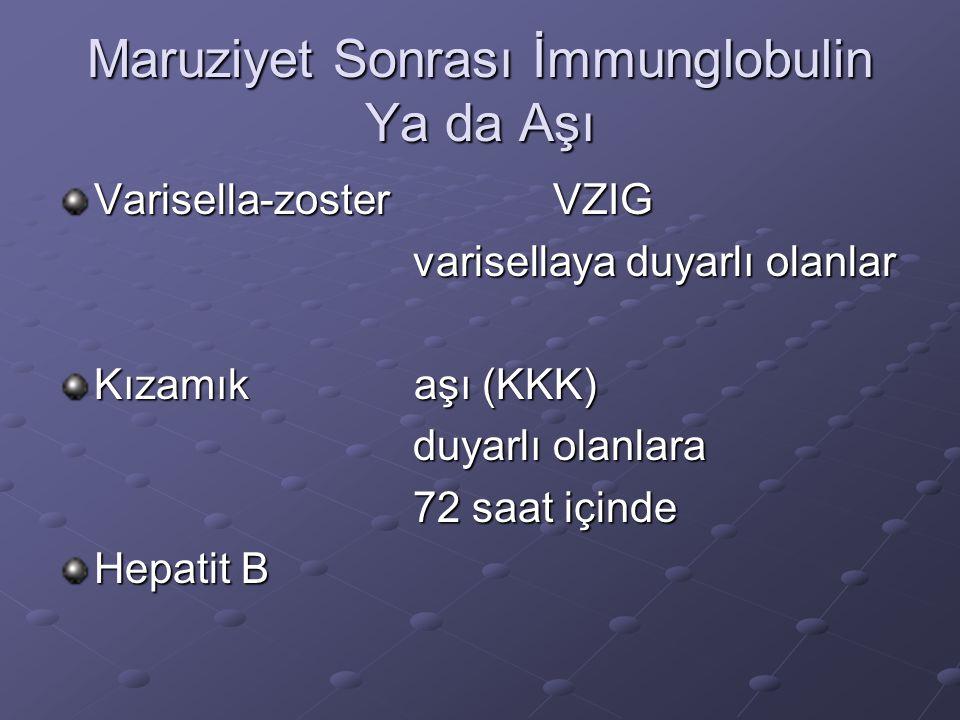 Maruziyet Sonrası İmmunglobulin Ya da Aşı Varisella-zoster VZIG varisellaya duyarlı olanlar varisellaya duyarlı olanlar Kızamık aşı (KKK) duyarlı olan