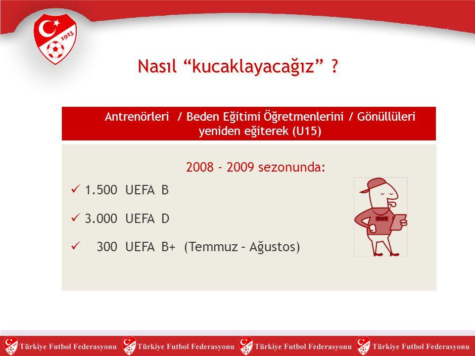 """Nasıl """"kucaklayacağız"""" ? Antrenörleri / Beden Eğitimi Öğretmenlerini / Gönüllüleri yeniden eğiterek (U15)  1.500 UEFA B  3.000 UEFA D  300 UEFA B+"""