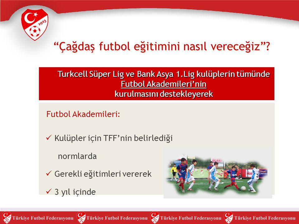 """""""Çağdaş futbol eğitimini nasıl vereceğiz""""? Turkcell Süper Lig ve Bank Asya 1.Lig kulüplerin tümünde Futbol Akademileri'nin kurulmasını destekleyerek F"""