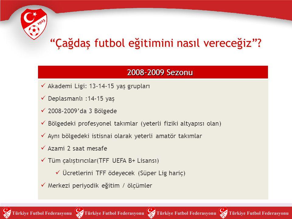 """""""Çağdaş futbol eğitimini nasıl vereceğiz""""? 2008-2009 Sezonu  Akademi Ligi: 13-14-15 yaş grupları  Deplasmanlı :14-15 yaş  2008-2009'da 3 Bölgede """