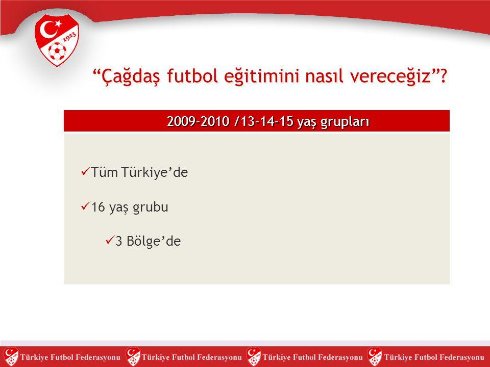 """""""Çağdaş futbol eğitimini nasıl vereceğiz""""? 2009-2010 /13-14-15 yaş grupları  Tüm Türkiye'de  16 yaş grubu  3 Bölge'de"""