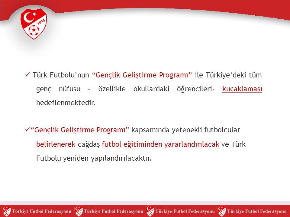""" Türk Futbolu'nun """"Gençlik Geliştirme Programı"""" ile Türkiye'deki tüm genç nüfusu – özellikle okullardaki öğrencileri- kucaklaması hedeflenmektedir. """
