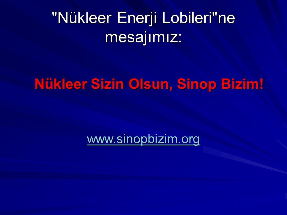 Nükleer Enerji Lobileri ne mesajımız: Nükleer Sizin Olsun, Sinop Bizim! www.sinopbizim.org