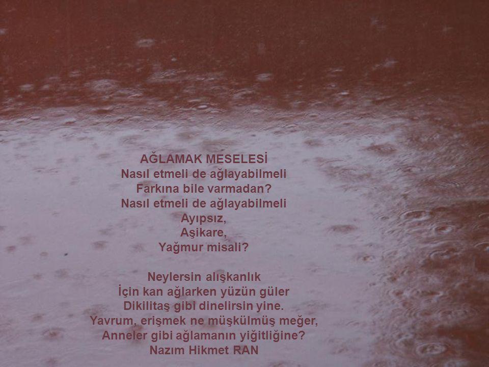 AĞLAMAK MESELESİ Nasıl etmeli de ağlayabilmeli Farkına bile varmadan? Nasıl etmeli de ağlayabilmeli Ayıpsız, Aşikare, Yağmur misali? Neylersin alışkan