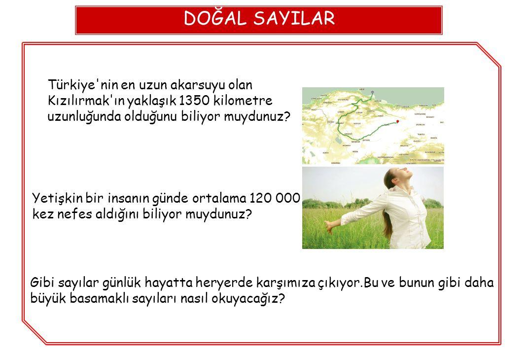 DOĞAL SAYILAR Türkiye'nin en uzun akarsuyu olan Kızılırmak'ın yaklaşık 1350 kilometre uzunluğunda olduğunu biliyor muydunuz? Yetişkin bir insanın günd