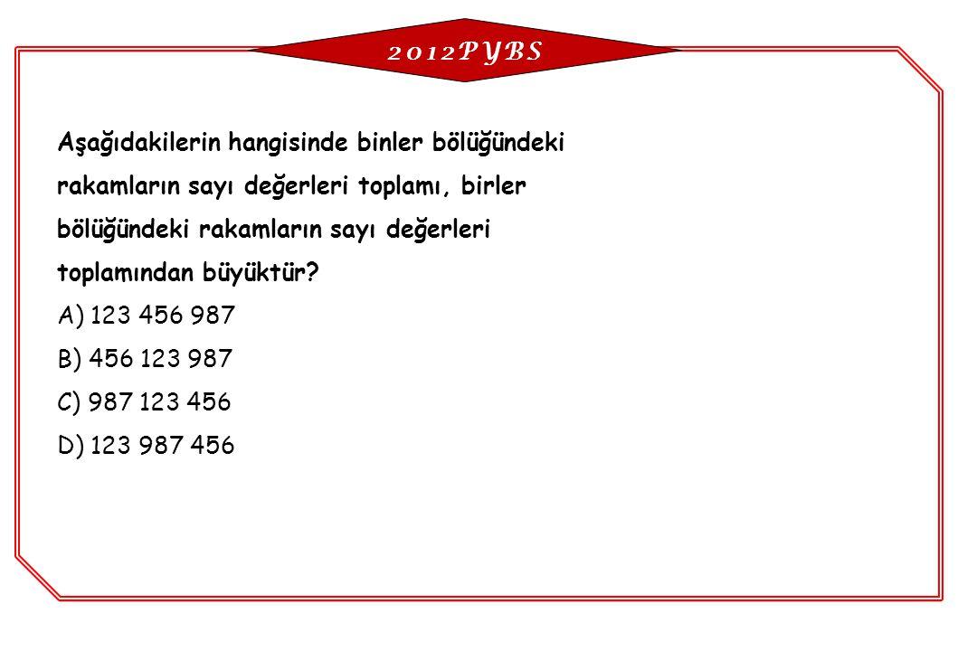 2012PYBS Aşağıdakilerin hangisinde binler bölüğündeki rakamların sayı değerleri toplamı, birler bölüğündeki rakamların sayı değerleri toplamından büyü