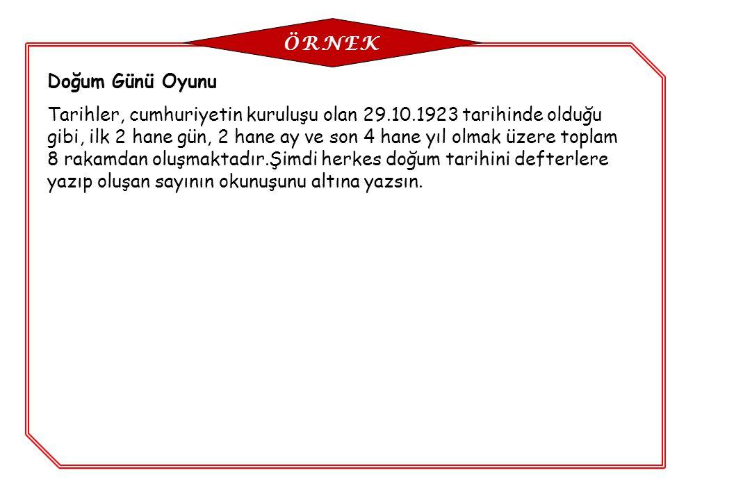 Doğum Günü Oyunu Tarihler, cumhuriyetin kuruluşu olan 29.10.1923 tarihinde olduğu gibi, ilk 2 hane gün, 2 hane ay ve son 4 hane yıl olmak üzere toplam