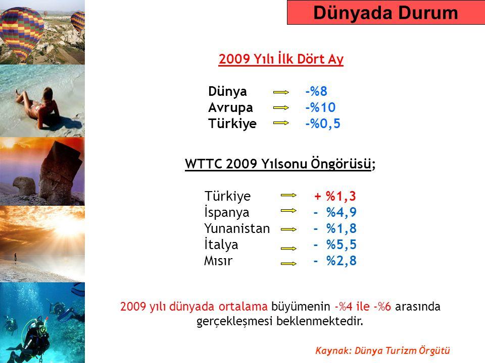 WTTC 2009 Yılsonu Öngörüsü; Türkiye + %1,3 İspanya - %4,9 Yunanistan - %1,8 İtalya - %5,5 Mısır - %2,8 2009 yılı dünyada ortalama büyümenin -%4 ile -%6 arasında gerçekleşmesi beklenmektedir.