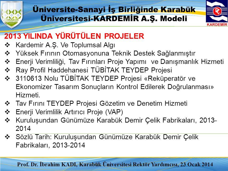 Üniversite-Sanayi İş Birliğinde Karabük Üniversitesi-KARDEMİR A.Ş. Modeli 2013 YILINDA YÜRÜTÜLEN PROJELER  Kardemir A.Ş. Ve Toplumsal Algı  Yüksek F