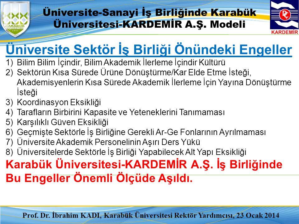 Üniversite-Sanayi İş Birliğinde Karabük Üniversitesi-KARDEMİR A.Ş. Modeli Prof. Dr. İbrahim KADI, Karabük Üniversitesi Rektör Yardımcısı, 23 Ocak 2014