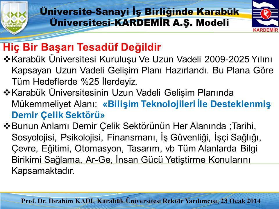 Üniversite-Sanayi İş Birliğinde Karabük Üniversitesi-KARDEMİR A.Ş. Modeli Hiç Bir Başarı Tesadüf Değildir  Karabük Üniversitesi Kuruluşu Ve Uzun Vade