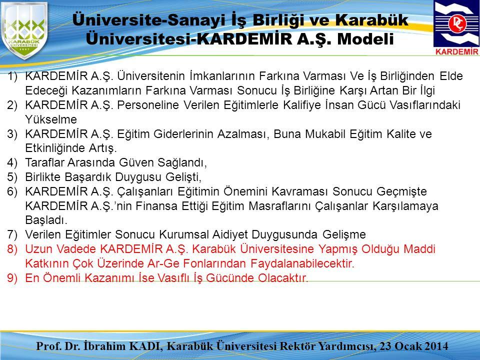 Üniversite-Sanayi İş Birliği ve Karabük Üniversitesi-KARDEMİR A.Ş. Modeli 1)KARDEMİR A.Ş. Üniversitenin İmkanlarının Farkına Varması Ve İş Birliğinden