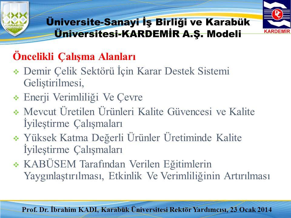 Üniversite-Sanayi İş Birliği ve Karabük Üniversitesi-KARDEMİR A.Ş. Modeli Öncelikli Çalışma Alanları  Demir Çelik Sektörü İçin Karar Destek Sistemi G