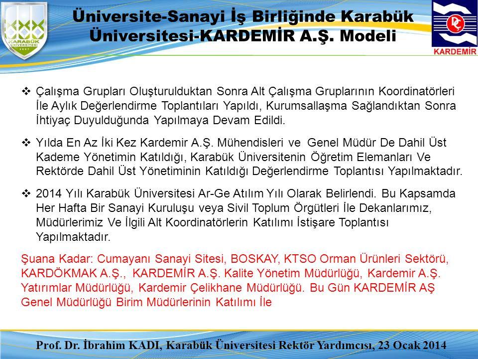 Üniversite-Sanayi İş Birliğinde Karabük Üniversitesi-KARDEMİR A.Ş. Modeli  Çalışma Grupları Oluşturulduktan Sonra Alt Çalışma Gruplarının Koordinatör