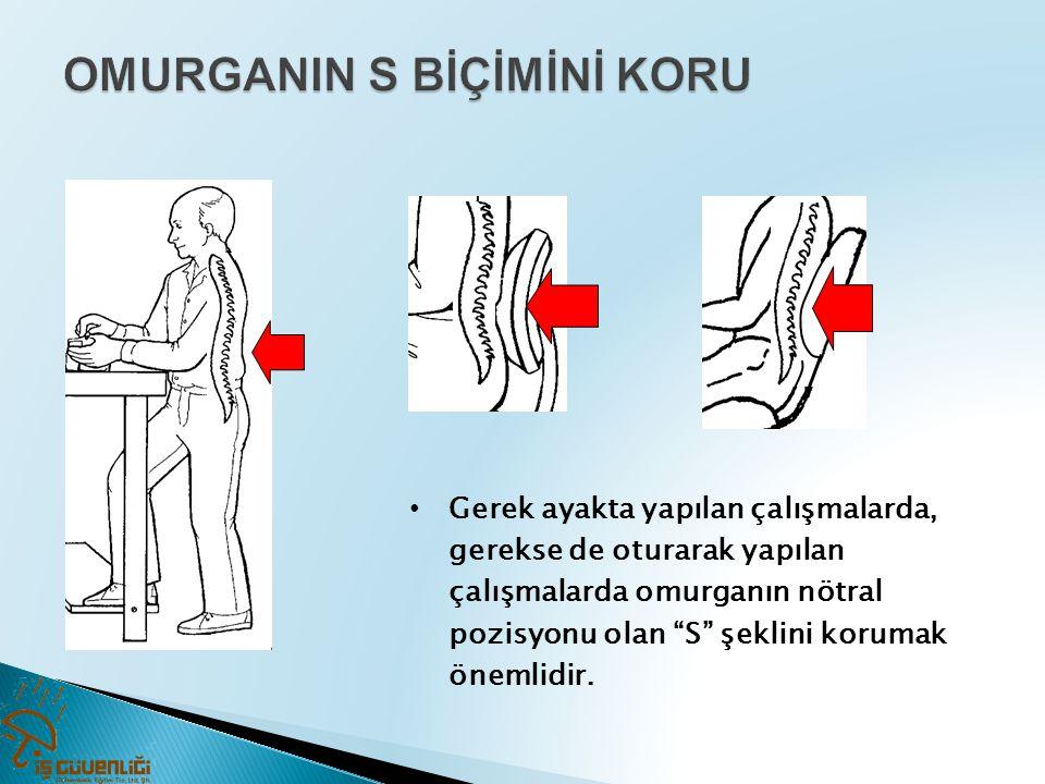 """• Gerek ayakta yapılan çalışmalarda, gerekse de oturarak yapılan çalışmalarda omurganın nötral pozisyonu olan """"S"""" şeklini korumak önemlidir."""