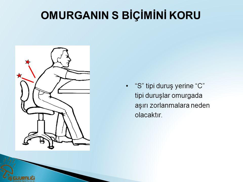 """OMURGANIN S BİÇİMİNİ KORU •""""S"""" tipi duruş yerine """"C"""" tipi duruşlar omurgada aşırı zorlanmalara neden olacaktır."""