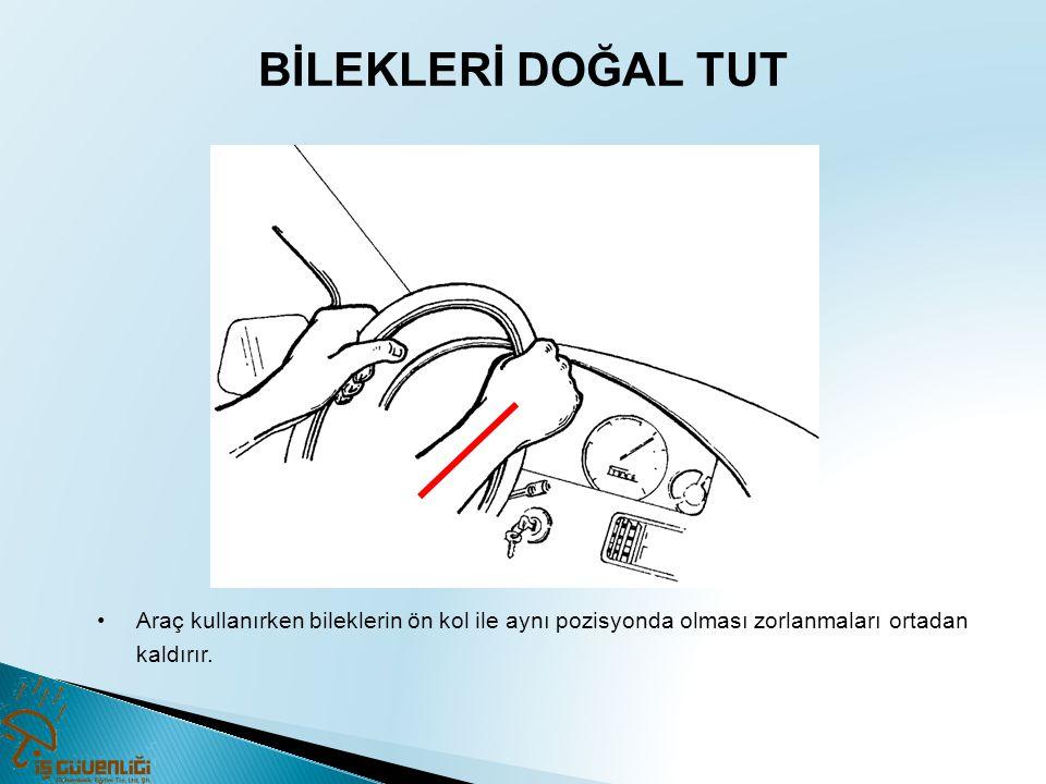 BİLEKLERİ DOĞAL TUT •Araç kullanırken bileklerin ön kol ile aynı pozisyonda olması zorlanmaları ortadan kaldırır.