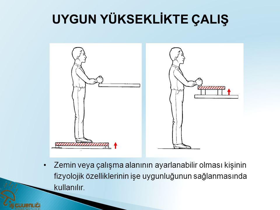 UYGUN YÜKSEKLİKTE ÇALIŞ •Zemin veya çalışma alanının ayarlanabilir olması kişinin fizyolojik özelliklerinin işe uygunluğunun sağlanmasında kullanılır.