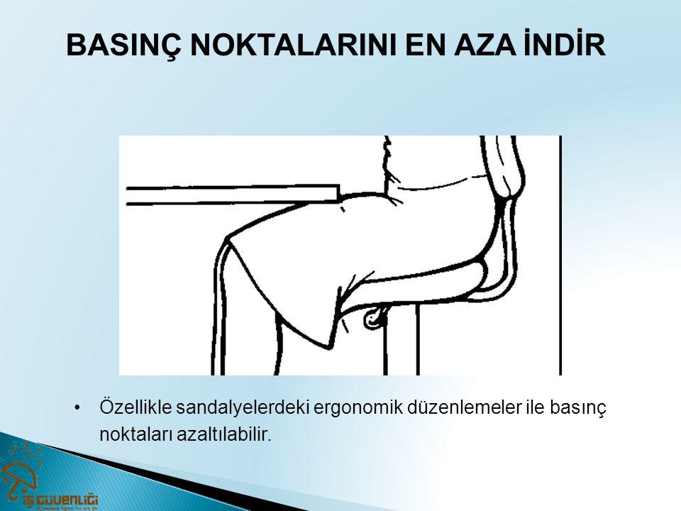 BASINÇ NOKTALARINI EN AZA İNDİR •Özellikle sandalyelerdeki ergonomik düzenlemeler ile basınç noktaları azaltılabilir.