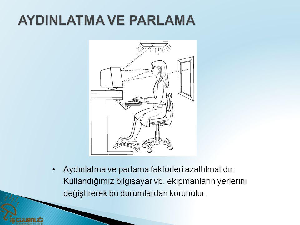 •Aydınlatma ve parlama faktörleri azaltılmalıdır. Kullandığımız bilgisayar vb. ekipmanların yerlerini değiştirerek bu durumlardan korunulur.