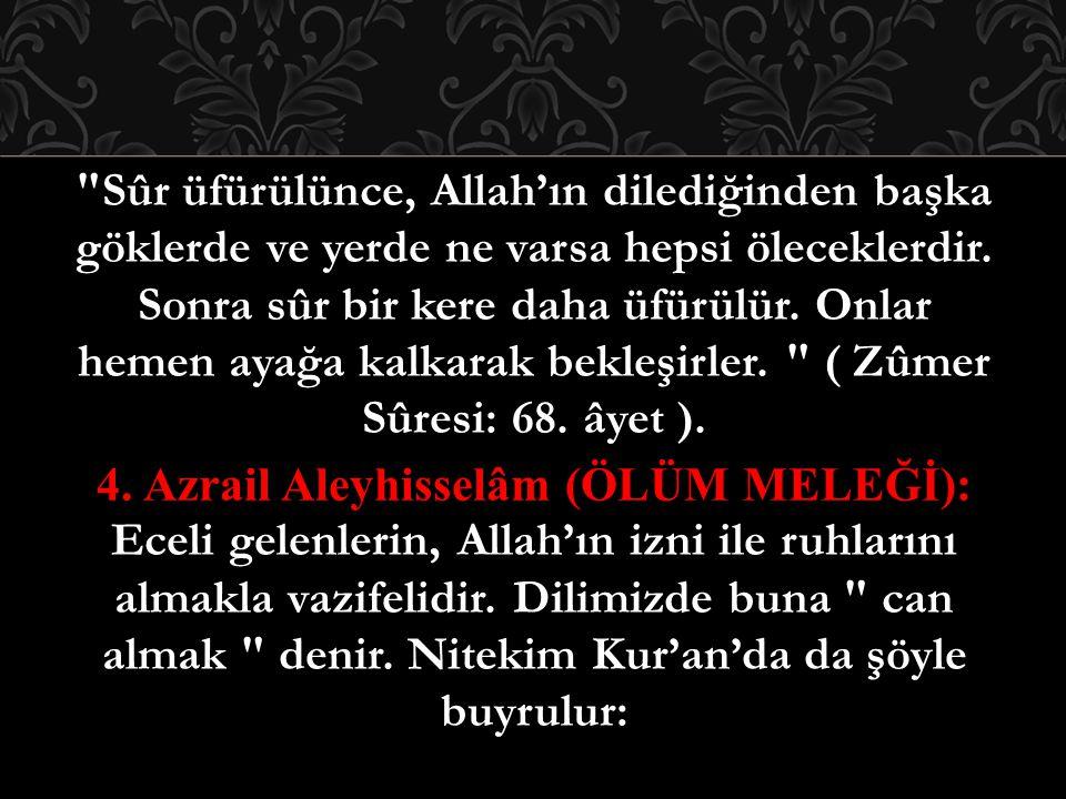 Sûr üfürülünce, Allah'ın dilediğinden başka göklerde ve yerde ne varsa hepsi öleceklerdir.