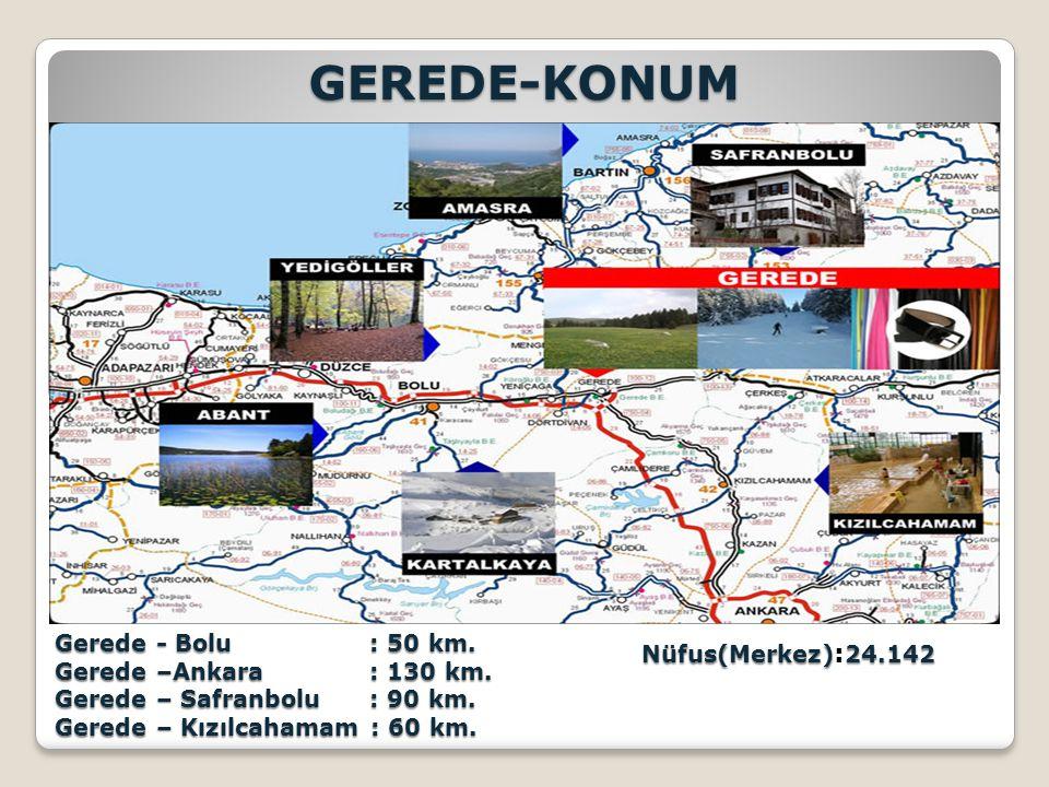 GEREDE-KONUM Gerede - Bolu : 50 km.Gerede –Ankara: 130 km.