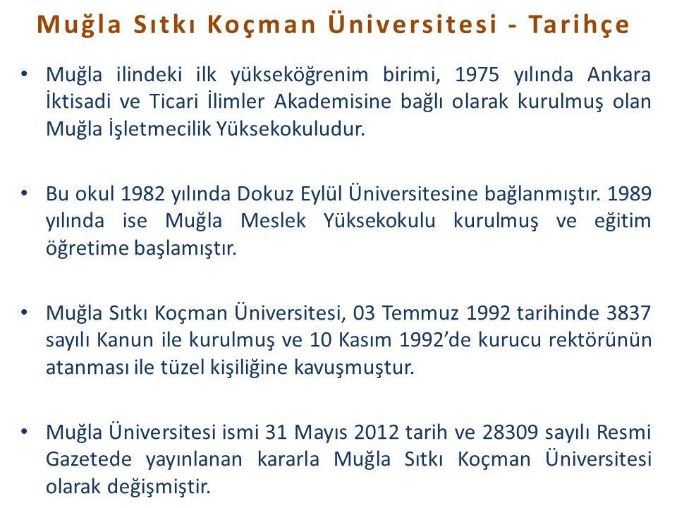 • Muğla ilindeki ilk yükseköğrenim birimi, 1975 yılında Ankara İktisadi ve Ticari İlimler Akademisine bağlı olarak kurulmuş olan Muğla İşletmecilik Yüksekokuludur.