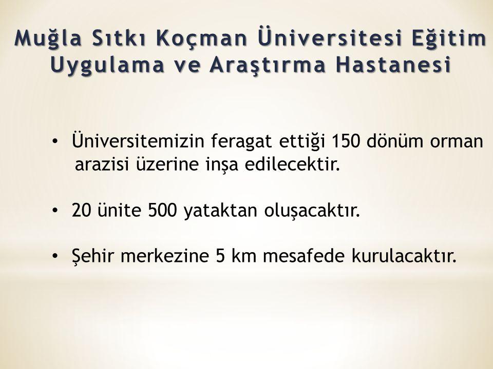 Muğla Sıtkı Koçman Üniversitesi Eğitim Uygulama ve Araştırma Hastanesi • Üniversitemizin feragat ettiği 150 dönüm orman arazisi üzerine inşa edilecektir.