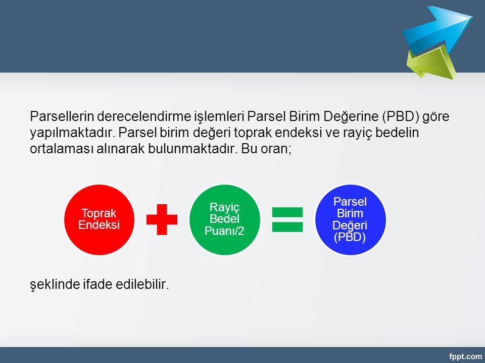 Parsellerin derecelendirme işlemleri Parsel Birim Değerine (PBD) göre yapılmaktadır. Parsel birim değeri toprak endeksi ve rayiç bedelin ortalaması al