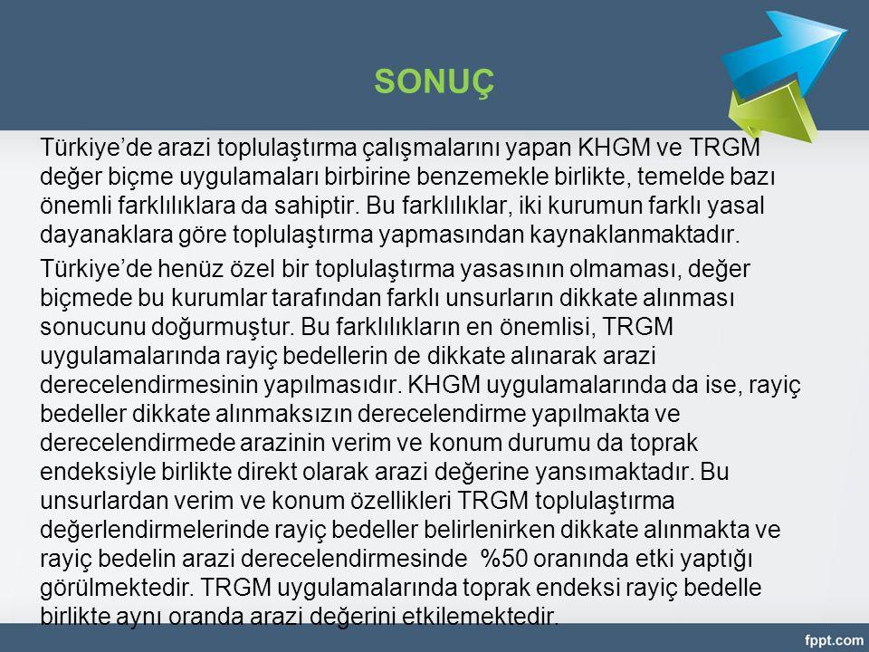 SONUÇ Türkiye'de arazi toplulaştırma çalışmalarını yapan KHGM ve TRGM değer biçme uygulamaları birbirine benzemekle birlikte, temelde bazı önemli fark