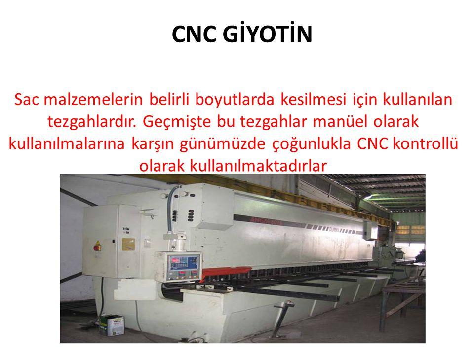 CNC GİYOTİN Sac malzemelerin belirli boyutlarda kesilmesi için kullanılan tezgahlardır.