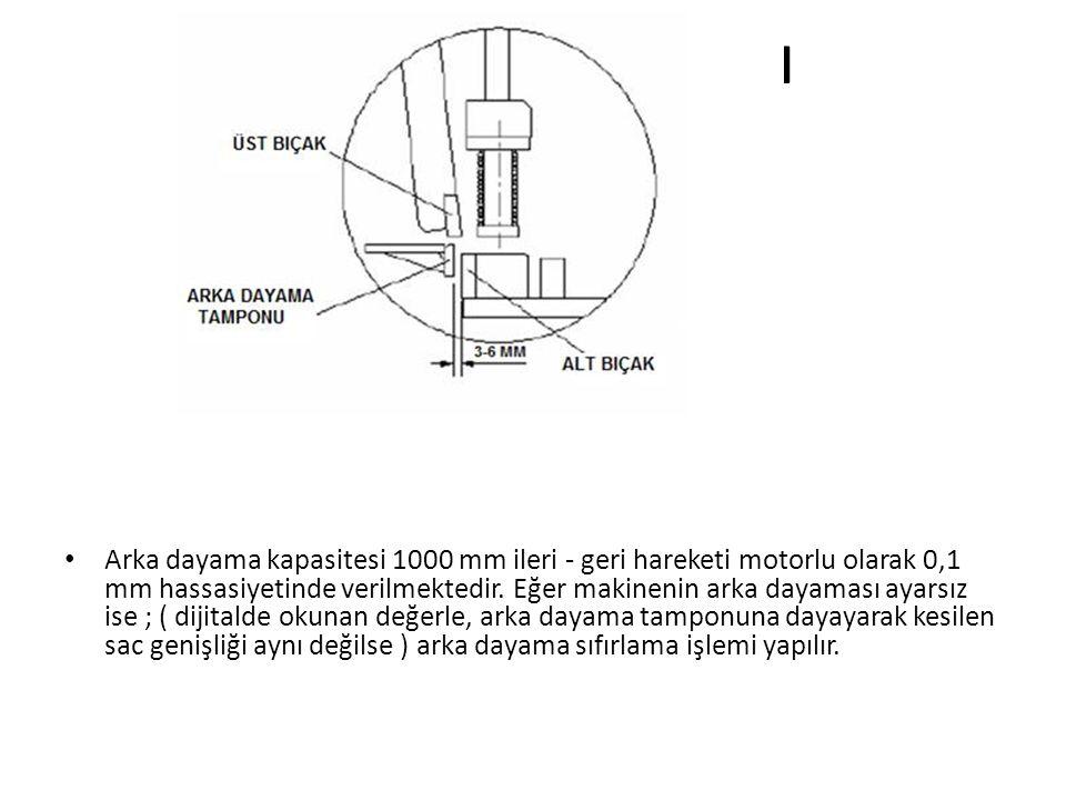 ARKA DAYAMA AYARI • Arka dayama kapasitesi 1000 mm ileri - geri hareketi motorlu olarak 0,1 mm hassasiyetinde verilmektedir.