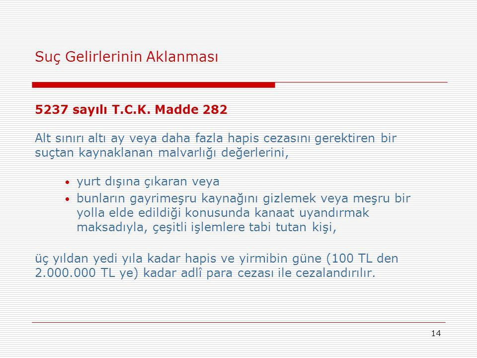 14 Suç Gelirlerinin Aklanması 5237 sayılı T.C.K. Madde 282 Alt sınırı altı ay veya daha fazla hapis cezasını gerektiren bir suçtan kaynaklanan malvarl