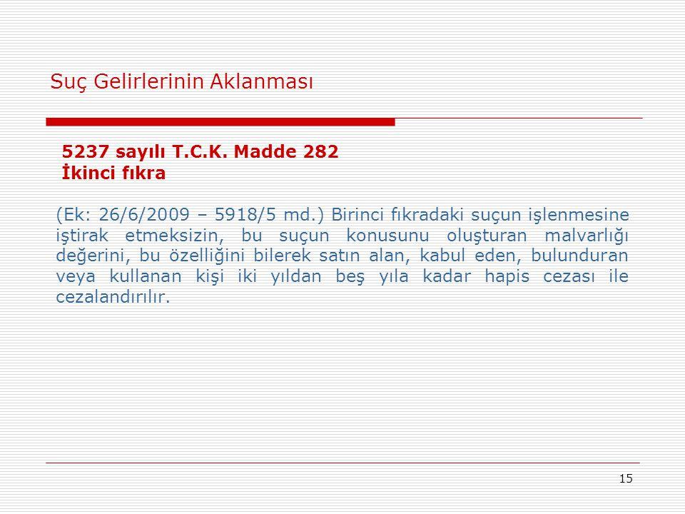 15 Suç Gelirlerinin Aklanması 5237 sayılı T.C.K. Madde 282 İkinci fıkra (Ek: 26/6/2009 – 5918/5 md.) Birinci fıkradaki suçun işlenmesine iştirak etmek