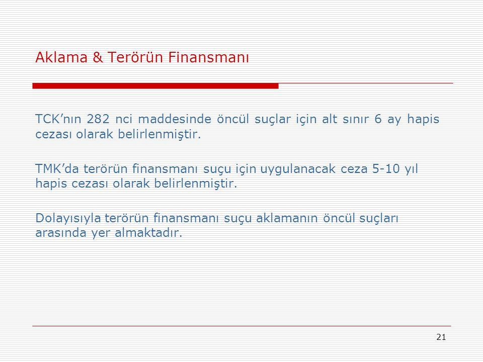 21 Aklama & Terörün Finansmanı TCK'nın 282 nci maddesinde öncül suçlar için alt sınır 6 ay hapis cezası olarak belirlenmiştir. TMK'da terörün finansma