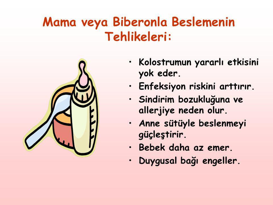 Mama veya Biberonla Beslemenin Tehlikeleri: •Kolostrumun yararlı etkisini yok eder. •Enfeksiyon riskini arttırır. •Sindirim bozukluğuna ve allerjiye n