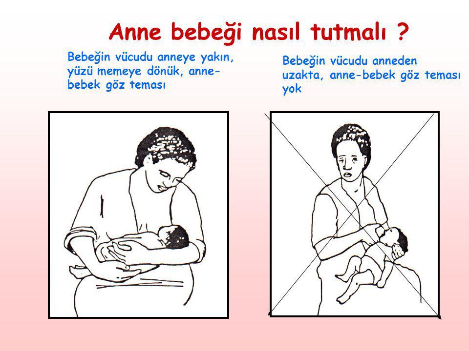 Anne bebeği nasıl tutmalı ? Bebeğin vücudu anneye yakın, yüzü memeye dönük, anne- bebek göz teması Bebeğin vücudu anneden uzakta, anne-bebek göz temas