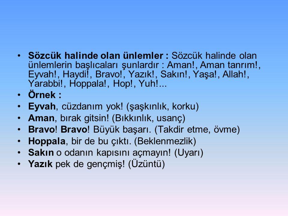 •Sözcük halinde olan ünlemler : Sözcük halinde olan ünlemlerin başlıcaları şunlardır : Aman!, Aman tanrım!, Eyvah!, Haydi!, Bravo!, Yazık!, Sakın!, Ya